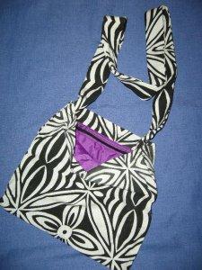 Black & white Karen bag with purple silk lining