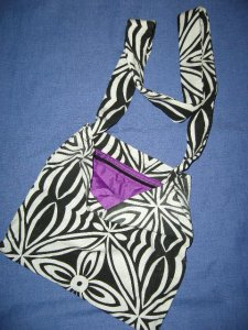 Black & white Karen bag with purple silk lining