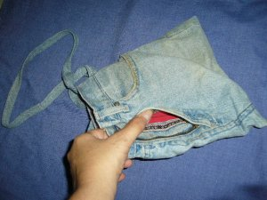Recycling fun!  shoulderbag made from ripped jeans with nifty pockets.